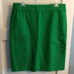 Talbots Kelly Green Eyelet Pencil Skirt